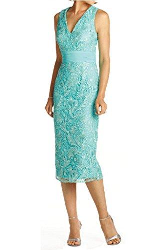 Charmant Damen Glamour V-ausschnitt Spitze Knie-lang Abendkleider Ballkleider Brautmutterkleider mit Bolero Hell Gruen