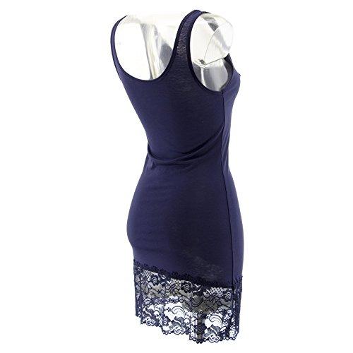 Netgozio 2 Pezzi Miniabito Donna Maxitop Fondo Pizzo Floreale Vestito Vestitino Canottiera Blu