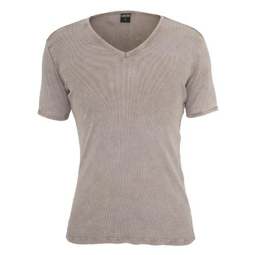 Urban Classics TB472 Faded Tee T-shirt V-Neck Manica Corta (Stone, S)