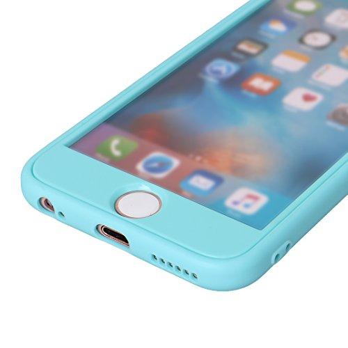 iPhone 6 Plus Fullbody Hülle, iPhone 6S Plus Fullbody Hülle, iPhone 6S Plus 3 in 1 Hülle, iPhone 6 Plus 3 in 1 Hülle, Moon mood® 3 in 1 Kratzfeste Kunststoff Rückseite Case Bumper Tarnung Rüstung Vert B Blau