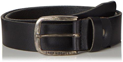 JACK & JONES Herren JJIPAUL JJLEATHER BELT NOOS Gürtel, Schwarz Black), 80 cm (Herstellergröße: 80)