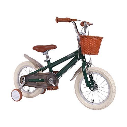 """Bicicletas ZX Infantiles, Retro para Niña De 14\""""/16\""""/18\"""" Pulgadas Adecuado para Niños De 3 A 10 Años De Edad (Color : Green-16 Inches)"""