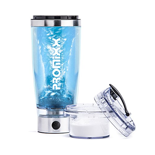 Promixx Shaker Bottle With X-Blade Technology And Integrated Protein Storage Container. 16000RPM Lithium-Ion Battery.. USB Rechargeable (600ml)