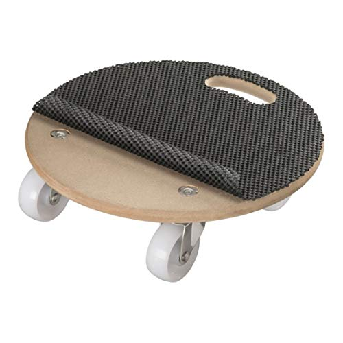 STIER Transportroller Basic Rund, mit Antirutschmatte, Rollbrett, 250kg Tragkraft, Möbelroller, MDF-Platte, Transporthilfe für Möbel, Rollen für Umzug