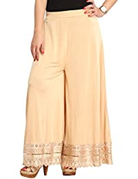 Beige Sharara Dress For Girls & Women - Gold Foil Printed Lace Work At The Bottom - Wedding & Party Wear Sharara...