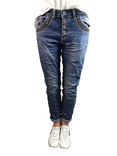 Karostar by Lexxury Denim Stretch Baggy-Boyfriend-Jeans Boyfriend 4 Knöpfe offene Knopfleiste weitere Farben (3XL-46, Dark Denim perlen) -