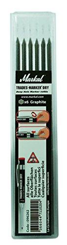 Markal 96262 Trades-Marker Dry Markierstifte, Set mit 6 Minen, graphit (Graphit Körper)