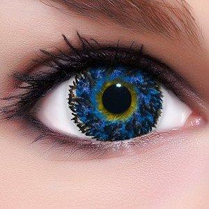Linsenfinder Lenzera Circle Lenses blaue 'Diamond Blue' ohne und mit Stärke + Kombilösung + Behälter Big Eyes farbige Kontaktlinsen