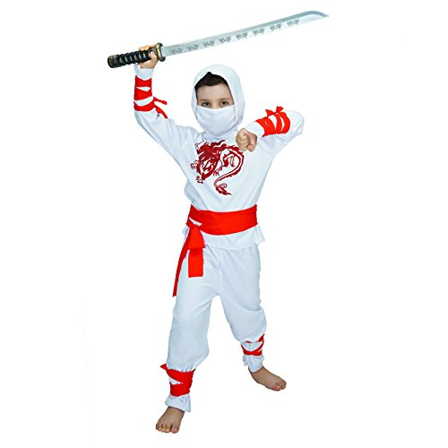 Sea Hare Kind White Power Samurai Krieger Kostüm Kostüm (S :4-6 Jahre)