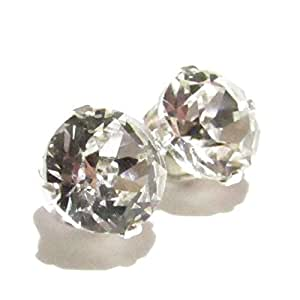 Men's 925 Sterling Silver Stud Earrings set with AAA Round Brilliant Cut Cubic Zirconia Stones. Gift Box. Made in England. Beautiful jewellery for very special people.