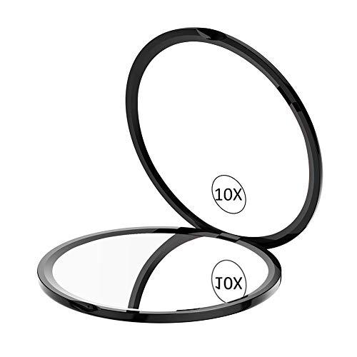 Scopri offerta per WEILY Specchio per trucco compatto da viaggio, Specchio portatile tascabile con ingrandimento 1X/10X con rotazione regolabile a 180 °, Mini specchio portatile pieghevole rotondo (10X, Nero)