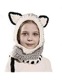 Richoose Inverno Caldo Coif Cappuccio Sciarpa Caps Cappello Earflap Fox  Scialli di Lana Lavorato a Maglia Cappelli della Protezione per… 98e6ca31f2a4