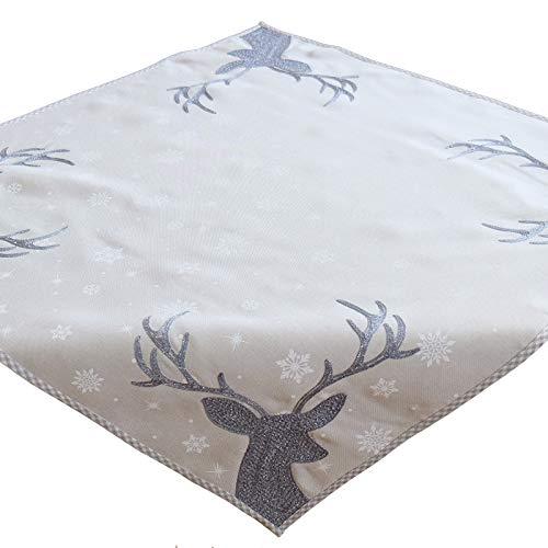 (heimtexland ® Weihnachten Tischdecke Bestickt Glitzer Hirsch Beige Silber 85x85 Tischdekoration Mitteldecke Typ615)