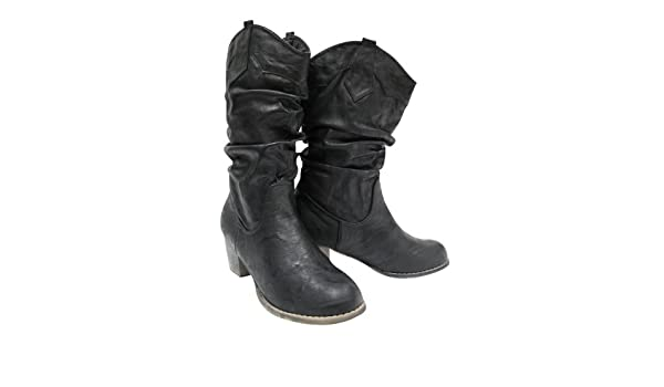 Chaussmaro Bottes Femme Style Cowboy Aspect Cuir Noir 39