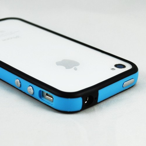 Adorable qualité pour Iphone 4/4 g/4S Bumper Couvrir avec Boutons en métal (Bleu G4GADGET ® Noir