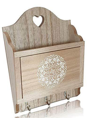 SG Produkte I Schlüsselbrett mit Ablage I Inklusive Befestigungsmaterial I Schlüsselboard Holz mit Briefablage I Schlüsselleiste Vintage Landhausstil