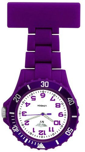 Prince-London-NY-New-York-rubberised-plastic-nurses-fob-watch-with-pin-Dark-Purple-with-White-face