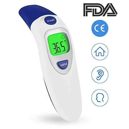 Fieberthermometer Ohrthermometer Stirnthermometer, Infrarot Digital Thermometer für Baby Kinder Erwachsenen und Objekte Oberflächen/CE/FDA Zertifiziert