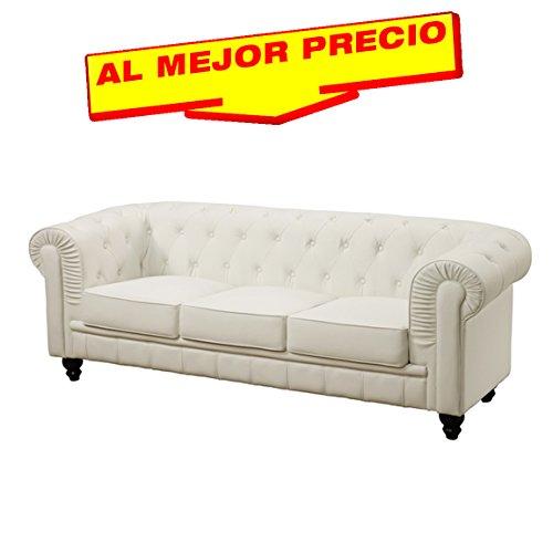 Sof chester 3 plazas similpiel blanca edici n limitada - Muebles al mejor precio ...