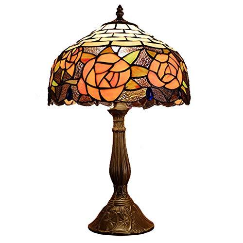 GUNNIA Tiffany Stil Tischlampe, Europäische Retro Nachttischlampe Orange Rose Glasschirm mit Legierung Basis für Cafe Restaurant, 110-220 V, (30 cm * 50 cm) -
