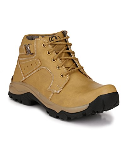 Knoos Men's Tan Synthetic Leather Hardrock Boots (B9-605, Size: 10 UK/IND)