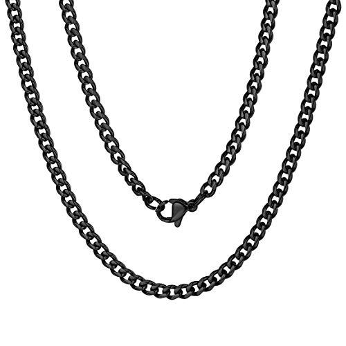ChainsPro Halskette Schwarz Herren-Kette aus 316L,925 Silber, ideal als Geschenk für Mann oder Freund, mit Schmuckbox