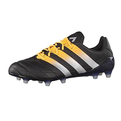 adidas Ace 16.1 FG/Ag Leather, Scarpe da Calcio Uomo, Nero / Arancione, 45 EU Black