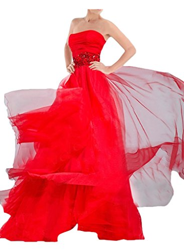 Sunvary Bodenlang Neu Chiffon A-Linie Abendkleider 2016 Applikation Paillette Partykleider Promkleider Rot