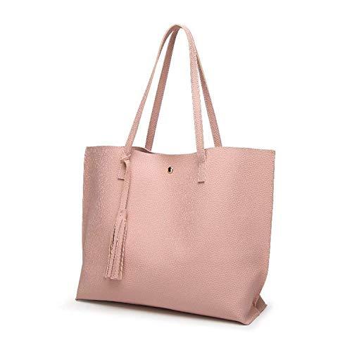 einfache Art und Weise literarische Wilde Handtasche Schultertasche große Kapazität (Farbe : Pink) ()