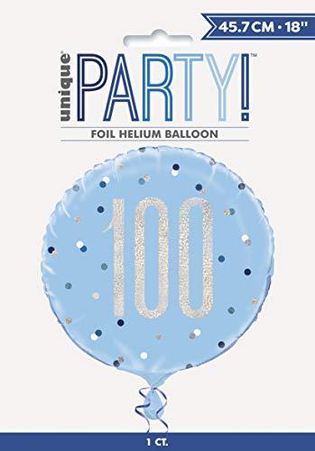 Unique Party 83365 - Globo de aluminio, color azul y plateado