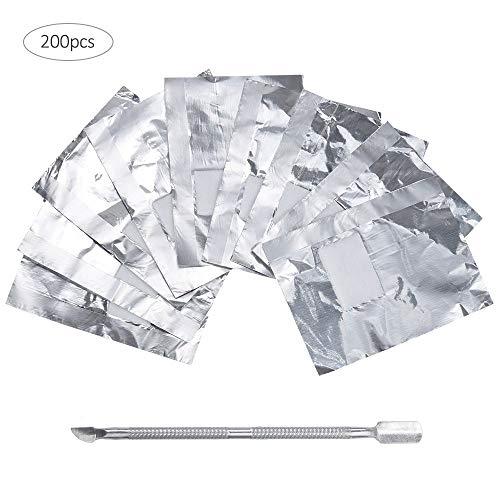 Lictin 200 pcs Dissolvant de Vernis à Ongles Feuille d'Aluminium Dissolvant pour Vernis à Ongles Enlever le Gel à Ongle,Élimine le Gel et le Vernis Avec un Poussoir pour Cuticules
