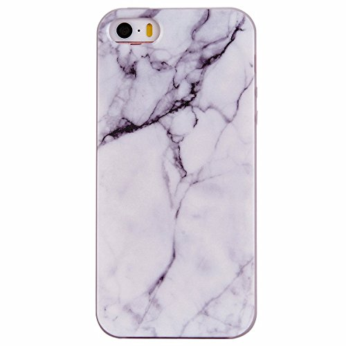 GrandEver Coque pour iPhone 5 iPhone 5S iPhone SE Etui Silicone Marbre Grain Souple Doux Arrière Housse Marble Cas TPU Bumper Flexible Soft Back Cover Protective Case Design de Mode Haute Qualite Anti-Choc Anti-Rayures Cas Protecteur pour iPhone SE/5S/5 -- Blanc