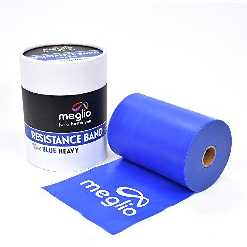 meglio latexfreies Widerstandsband - 23m Rolle - Fitnessband für Training, Physiotherapie, Rehabilitation - extra-schwer, schwer, mittel, leicht, extra-leicht (Blau, 23m)