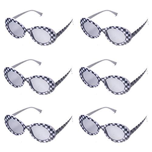 OAONNEA 6 Paare Sonnenbrille Oval Retro für Damen Vintage Clout Goggles UV400 Schutz Party Sonnenbrille (6Mosaik)