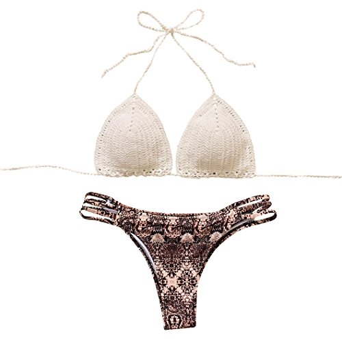 Sequined Floral Top (Bademode Dasongff 2018 Damen Bikini Böhmischen Badeanzug Knitting Bademode Floral Bikini Tankini Set Niedrige Taille Neckholde Beachwear Top (S, Weiß))
