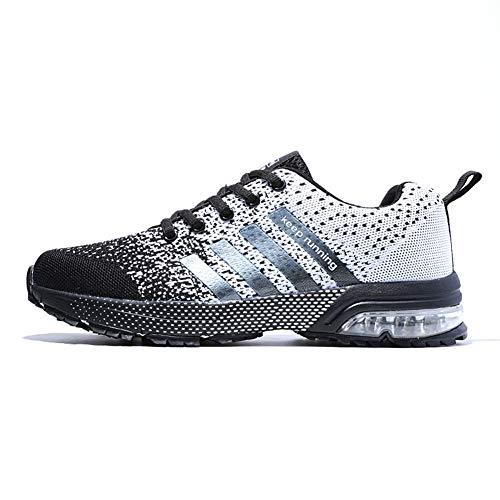 Fexkean Unisex Sportschuhe Laufschuhe Turnschuhe Atmungsaktiv Sneakers Air Sport Casual Shoes Herren Damen (8877Grey38)