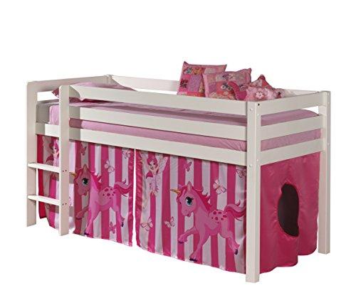 "VIPACK PICOHSZG1478 Spielbett Pino mit Textilset ""Pferde"", Maße 210 x 114 x 106 cm, Liegefläche 90 x 200 cm, Kiefer massiv weiß lackiert"