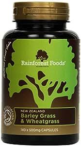 Rainforest Foods Neuseeland Gerstengras und Weizengras-Kapseln 140 Kapseln, 1er Pack (1 x 70 g) - Bio