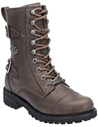 32fdc29f6fc2 Harley Davidson Balsa Biker Boots Grey Stone Leather Ankle Lace up Combat  Boot