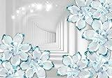 Fototapete Tunnel Blumen türkis Weiss Funkeln Glitzerrn 3D Weiss Raum S 200 x 140cm - 4 Teile Vlies Tapete Wandtapete - Moderne Vliestapete - Wandbilder - Design Wanddeko - Wand Dekoration wandmotiv24