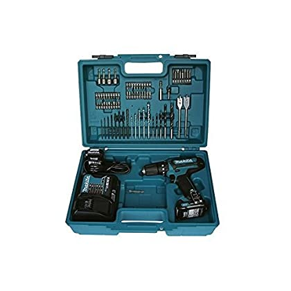 Makita HP331DSAX1 Taladro percutor a bateria 10,8V 2.0 ah + maletin con Accesorios, Azul, 0