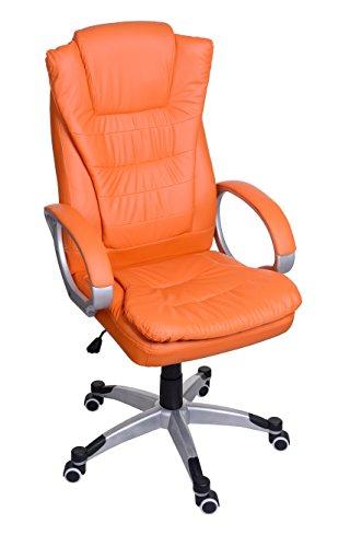 Sessel Orange Bürosessel Chefsessel Bürostuhl Drehstuhl Bürodrehstuhl PU-Leder BSU009