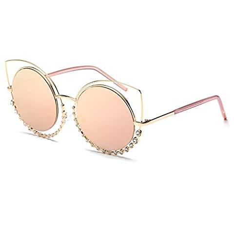 CVOO High Quality Cat Eye Round Rhinestones Decoration Frame Vintage Brand Women Sunglasses Fashion Eyewear