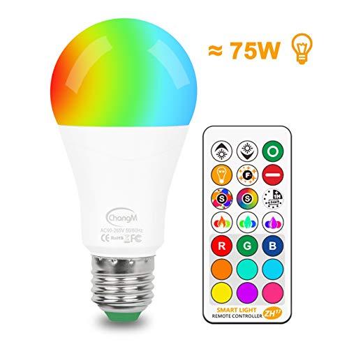 LED RGB Glühbirne mit E27 Sockel, Ersetzt 85 Watt, RGB Lampe Farbwechsel Glühbirne Dimmbar mit Fernbedienung, 6 Modi - Dualer Speicher - Timer-Funktion, RGB + Warmweiß (2700K), 1-Pack -