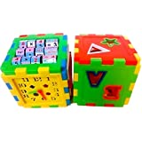 ProductFox Educational ALL In ONE Blocks Set - Multi-skill: Colors, Counting, ABC, Maths, Clock, Blocks, Puzzle And Much More - Set Of 2