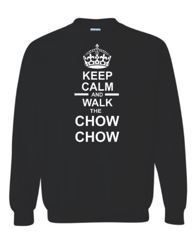 "Keep Calm ""Walk & Chow Chow Felpa Unisex Nero"