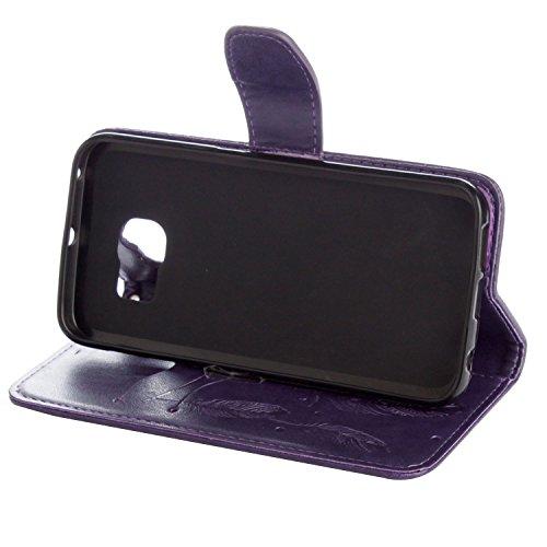 Etui Samsung i9600 , Anfire Attrape Reve et Feuille Motif Peint Mode PU Cuir Étui Coque pour Samsung Galaxy I9600 S5 SM - G900F (5.1 pouces) Housse de Protection Luxe Style Livre Pochette Étui Folio R Violet