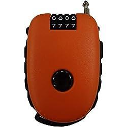 Bosvision El candado de combinación de 4 dígitos ultra seguro con un cable retraíble de 90cm para bicicletas, esquís y carritos - Naranja