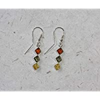 Handmade Diamond Shaped Mixed Amber Earrings, Red, Green Yellow Trio Drops, Sterling Silver