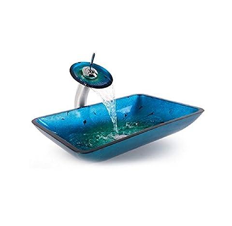 Rectangulaire évier récipient en verre trempé et cascade robinet Bleu